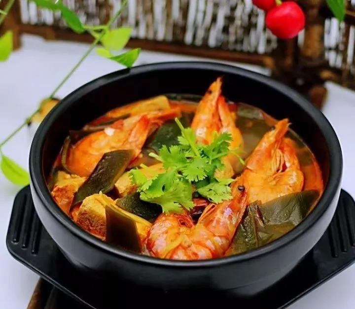 海带冻豆腐炖海虾做法,营养健康又养生